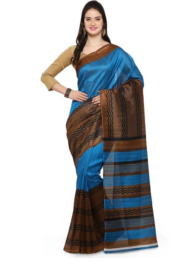 b6ef0dc014 Buy Craftsvilla Printed Bhagalpuri Silk Blue Sarees Online @ Best ...