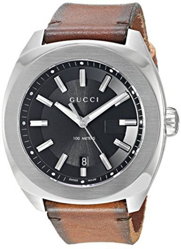 0788b42edfa GUCCI black9402 Gucci Swiss Quartz Stainless Steel and Leather Dress Brown Men s  Watch(Model