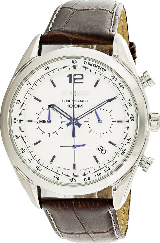 5d7cc6713a4 Seiko White 6384 Seiko Chronograph White Dial Stainless Steel Brown Leather  Mens Watch SSB095 Watch - For Men - Buy Seiko White 6384 Seiko Chronograph  White ...