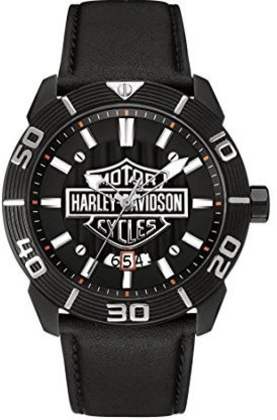 6337767d327 Harley Davidson Black2637 Harley-Davidson Men's Bulova Watch, Embossed Bar  & Shield, Leather Strap 78B136 Watch - For Men - Buy Harley Davidson  Black2637 ...