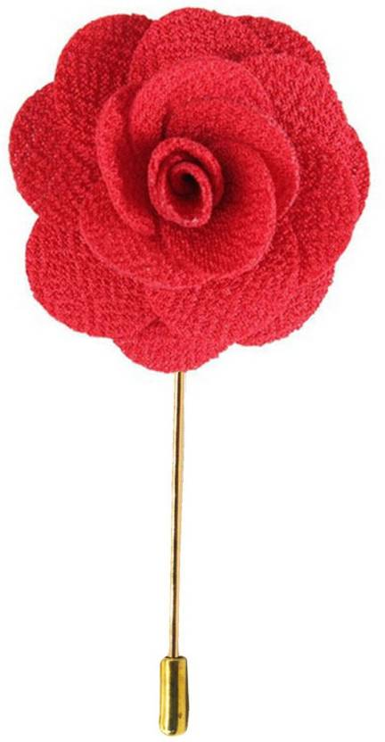 Sullery HANDMADE ROSE FLOWER LAPEL PIN Lapel Flower Womens Camellia  Handmade Boutonniere Stick Brooch Pin Jewelry Brooch (Red) 46114a4a9