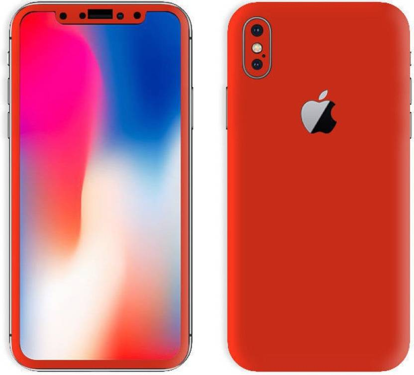 best sneakers 503d3 7ee0c SLICKWRAPS Skin- 5857 - Red Glossy Skin For Front & Back Of Apple iPhone 10  iPhone X Mobile Skin