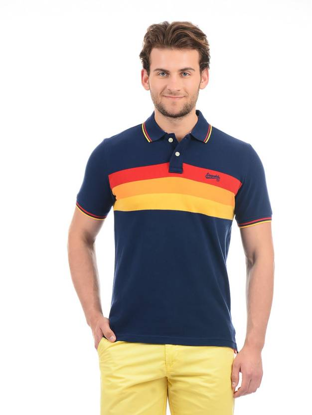 e1be117a Aeropostale Striped Men Polo Neck Dark Blue T-Shirt