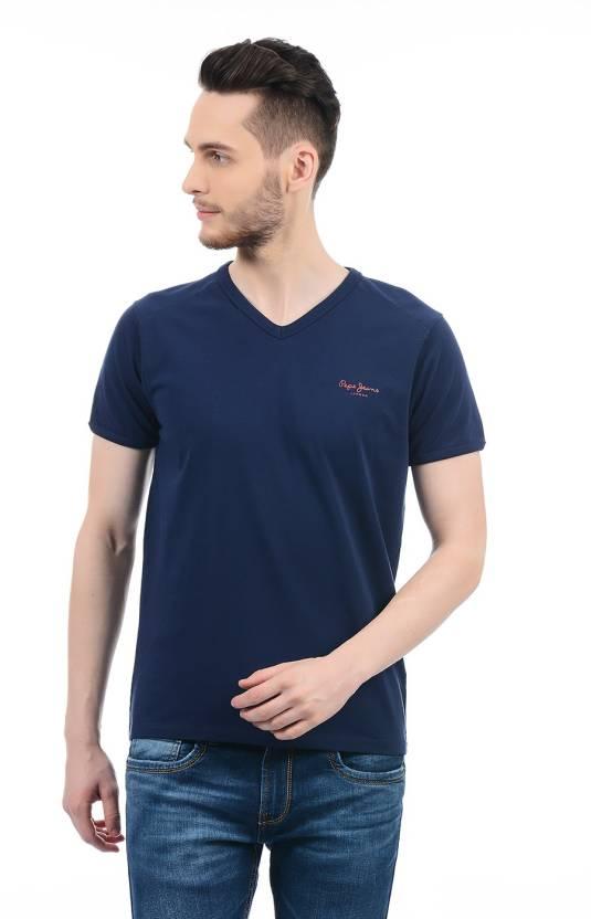 7f5d75d3f521 Pepe Jeans Solid Men's V-neck Dark Blue T-Shirt - Buy Pepe Jeans Solid Men's  V-neck Dark Blue T-Shirt Online at Best Prices in India | Flipkart.com