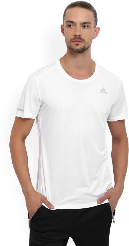 ADIDAS Solid Men Round Neck White T-Shirt - Buy White ADIDAS Solid ... 99aca80d368d