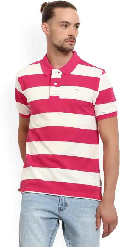 9e92cb33 Flying Machine Color block Men Polo Neck Pink, White T-Shirt - Buy Azalea  Flying Machine Color block Men Polo Neck Pink, White T-Shirt Online at Best  Prices ...