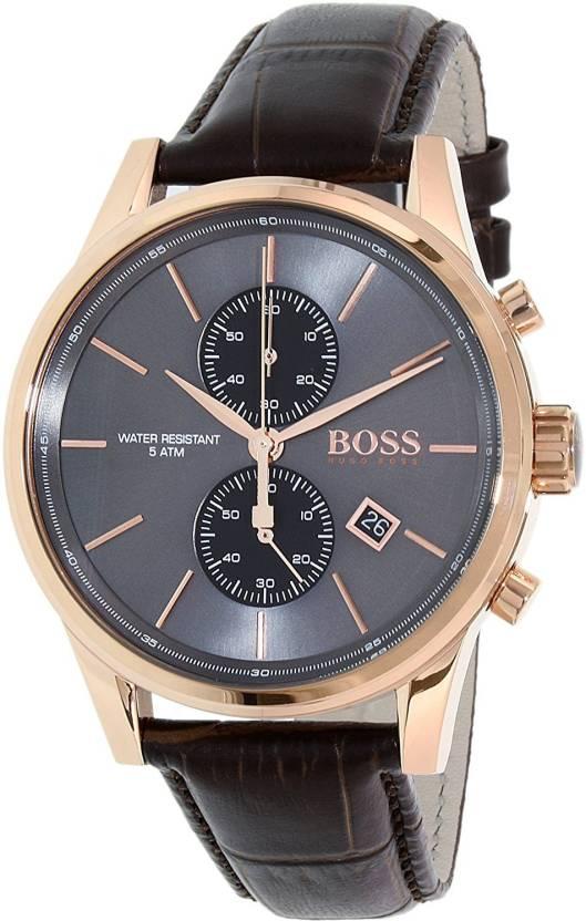 Hugo Boss Grey1579 Hugo Boss Jet Black Rose Gold Brown Leather