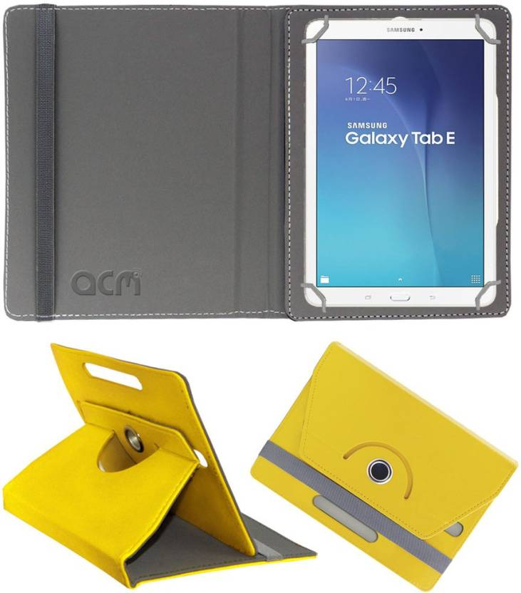 ACM Flip Cover for Samsung Galaxy Tab E Sm T561 Yellow, Cases with Holder