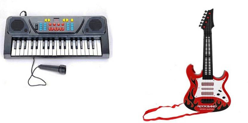 FEMININE STYLE Combo of 37 Key Piano Keyboard Toy with DC Power Option,  Recording and Mic with Musical Guitar With Light And Sound for kids (Multi