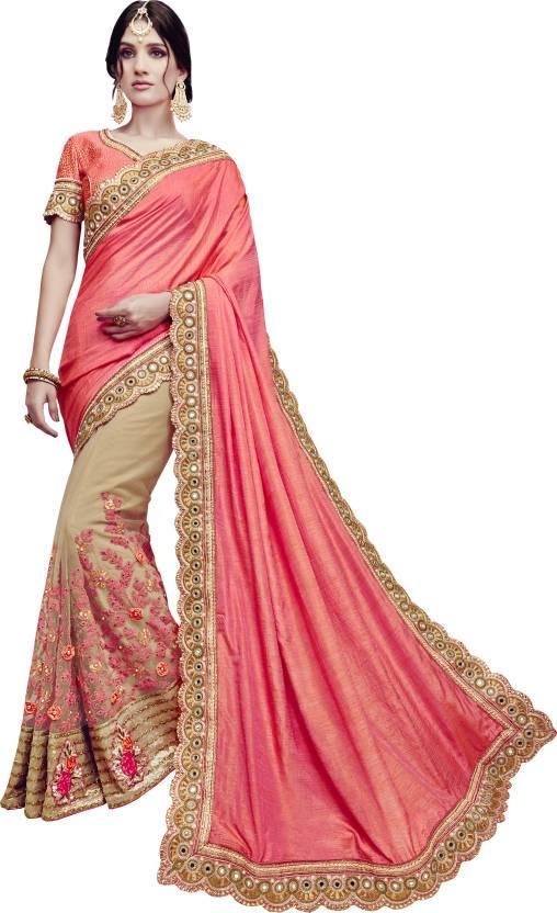 df8b40b919 Buy Arohi Designer Embroidered Fashion Georgette Pink, Beige Sarees ...