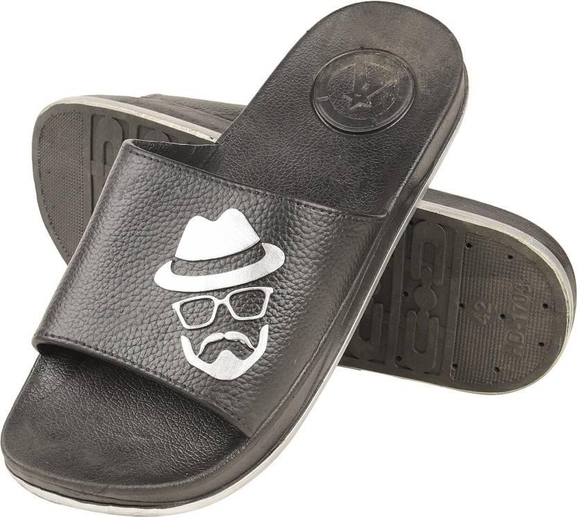 93c7cb0a1f4d ILU Men s Casual Designer Moustache Black Rubber Slide Slippers Size-6  Slides. ON OFFER