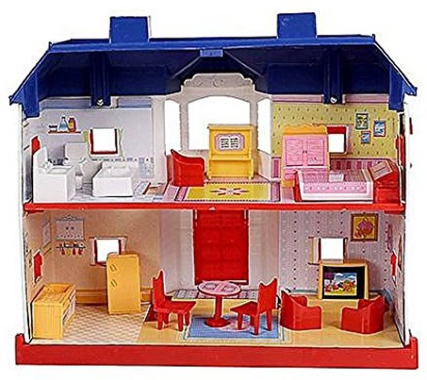 Electrobot My Country Doll House Playset with living room ,bedroom, bath  room, dining room 24 Pieces