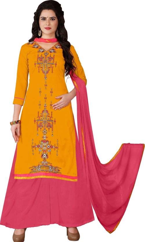 0aba693ec3 Vaidehi Fashion Cotton Embroidered Semi-stitched Salwar Suit Dupatta  Material