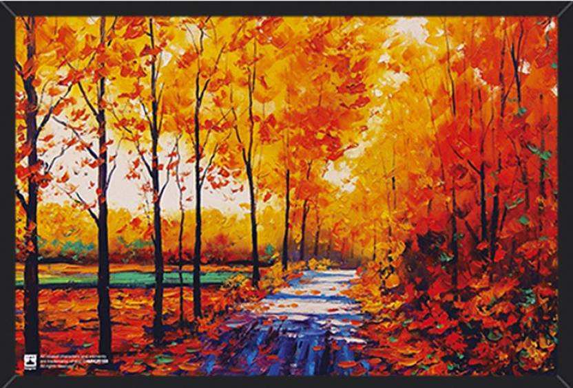 Wall Art Autumn Forest Canvas Painting Framed Poster For Home And