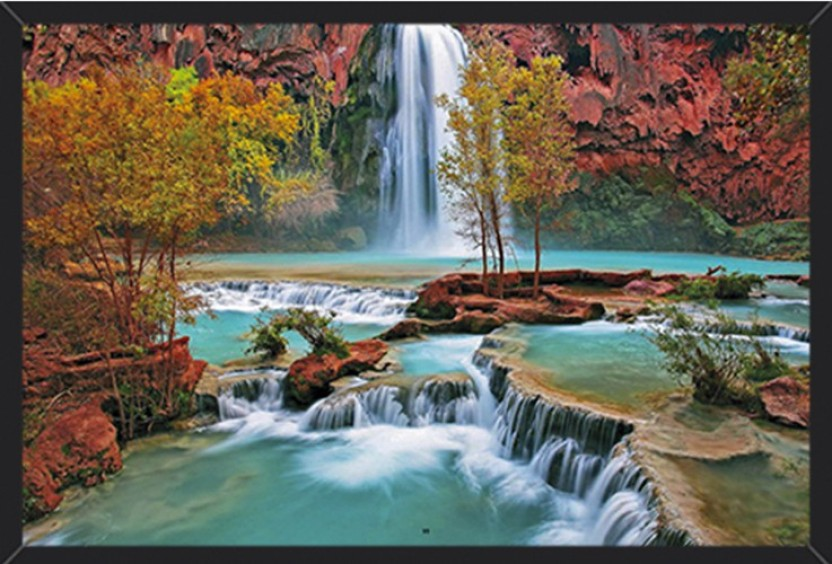 WATER STREAM Canvas Art Print for Wall Decor and Painting of Scenic View Landsca