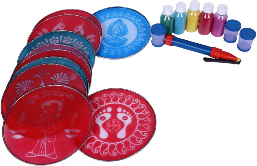 """Set Of 10 with free shipping Rangoli 8 /"""" Round Stencils"""