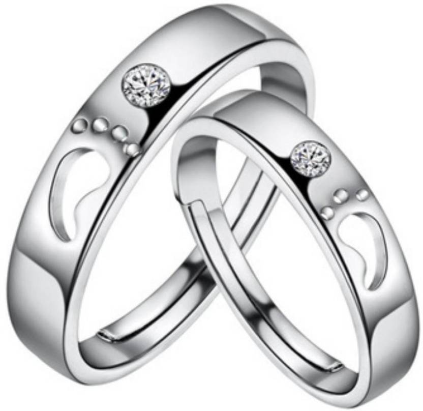 d057ce36e MYKI King & Queen Sterling Silver Swarovski Zirconia Adjustable Couple  Rings Sterling Silver Swarovski Zirconia 24K White Gold Plated Ring Set  Price in ...