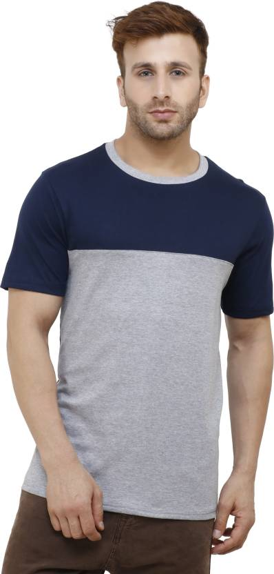 limited price discount shop top-rated real Rodrick Self Design, Color block Men Round Neck Blue, Grey T-Shirt