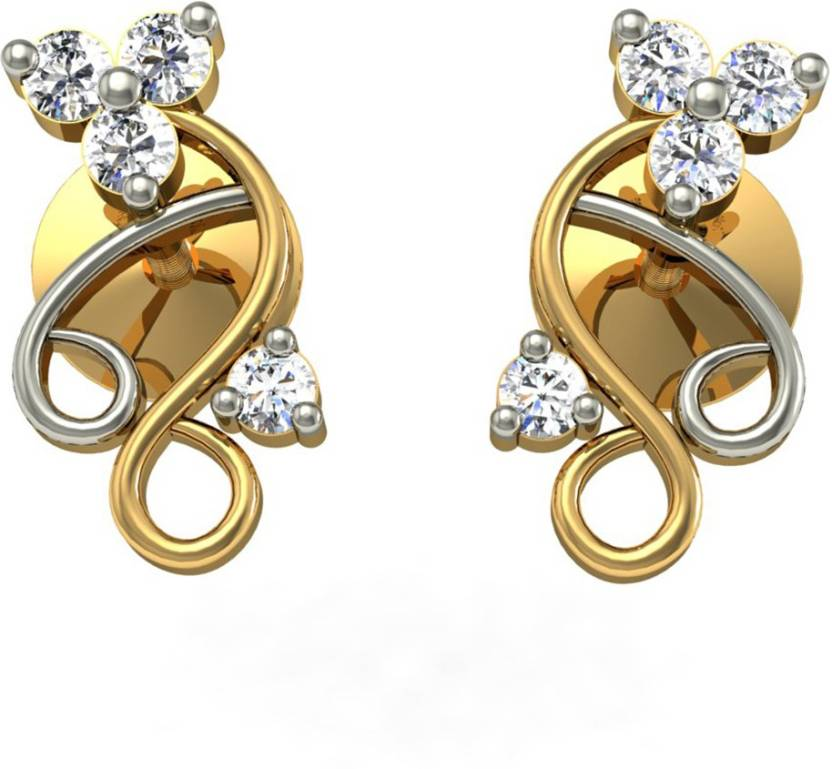 Jewelmantra Yellow Gold 18kt Diamond Stud Earring