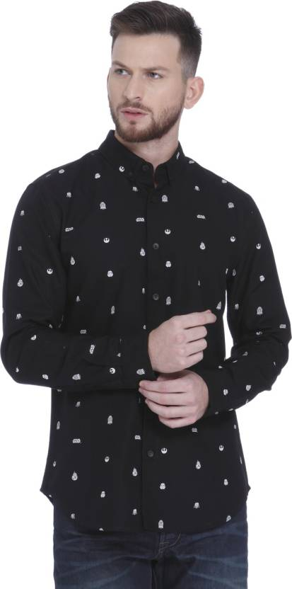 250a5f5387 Jack   Jones Men Printed Casual Black Shirt - Buy Jack   Jones Men Printed Casual  Black Shirt Online at Best Prices in India