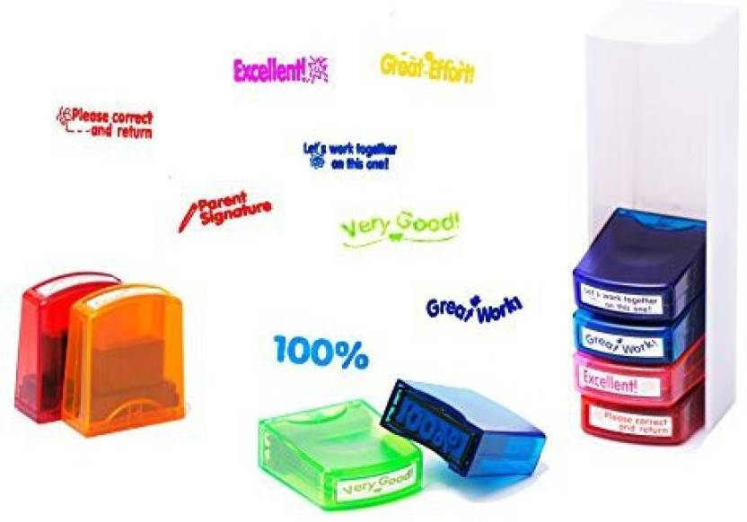 Generic Do4U Motivation Teacher Stamp Colorful Self Inking School Grading Set And Tray 8 Pcs