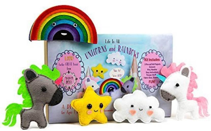 Generic Unicorn And Rainbows Stuffed Animal Sewing Craft Kit For