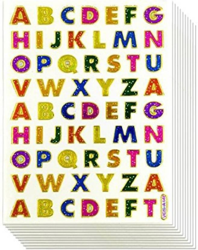 Generic 1CM A-Z Letter Sticker, 10 Sheets Glitter Gold