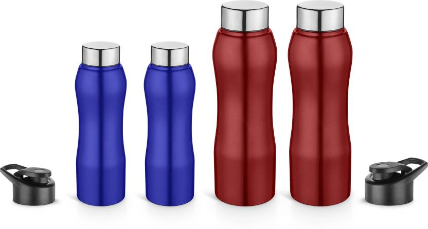 Pexpo Ideale Trendy Sipper Cum Water,School,Office,Sports & Fridge 2 Bottle  1000 ml Red & 2 Kids Bottle 500ml Blue -BISTRO(Set of 4) Complete Family  Pack ...