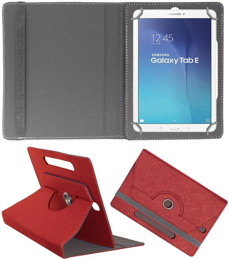 ACM Flip Cover for Samsung Galaxy Tab E 9.6 inch Red, Cases with Holder
