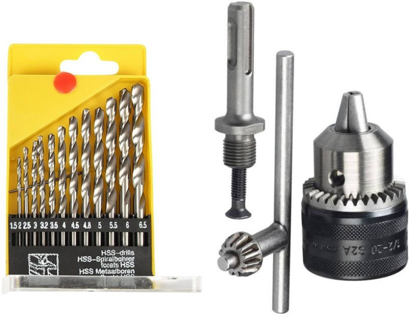 """1//2/"""" Drill Chuck with SDS Plus Adaptor and Grip Chuck Key 3-Piece 1.5-13mm"""