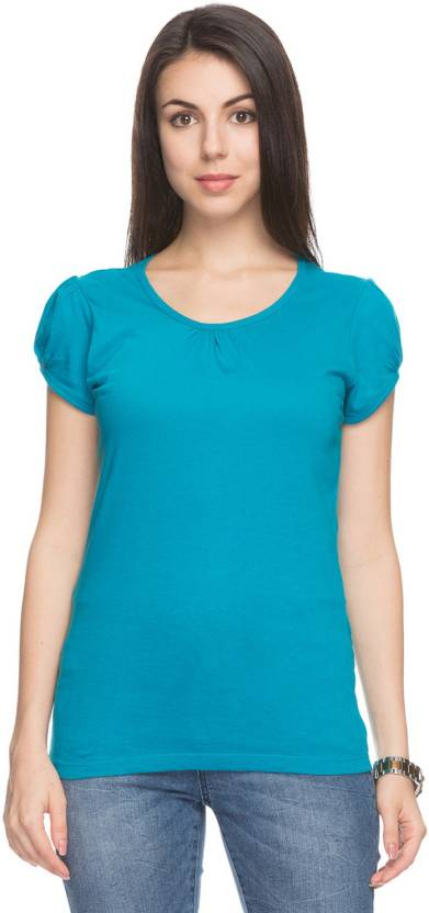 f30a0e95b FBB - DJ  C Solid Women V-neck Blue T-Shirt - Buy FBB - DJ  C Solid Women  V-neck Blue T-Shirt Online at Best Prices in India