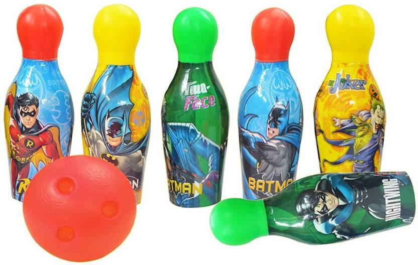 Batman Batman Bowling Set Plastic 6 Pins 1 Balls Educational Mini Bowling  Toy For Kids Bowling