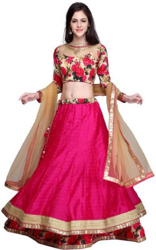 76c502c21a Shree Krishna Fashion Girls Lehenga Choli Party Wear, Ethnic Wear Printed Lehenga  Choli (Pink, Pack of 1)