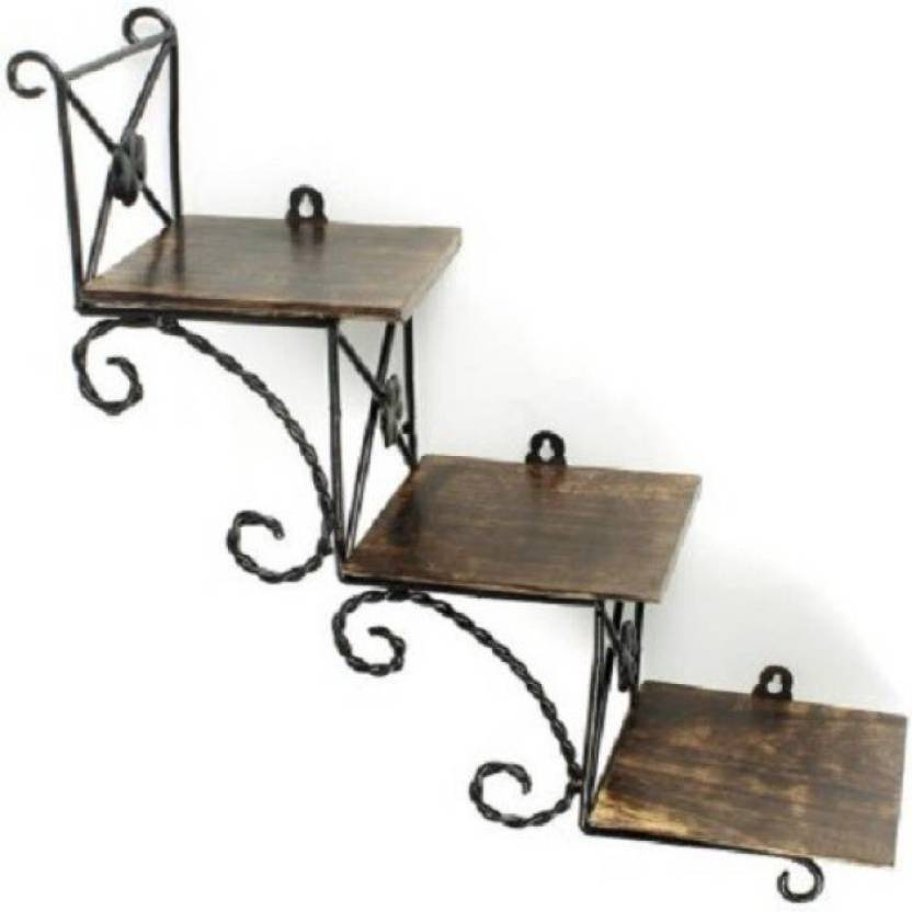 Sublime Arts Wrought Iron Wooden Iron Wall Shelf Price In India