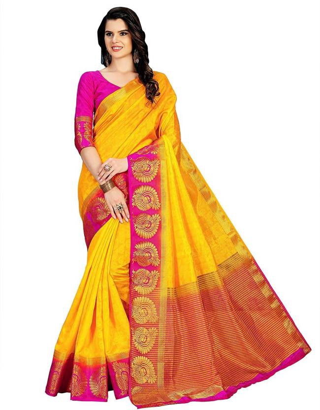 4cf1a3e912a5fa Buy Indianbeauty Embellished Kanjivaram Cotton Silk Yellow Sarees ...