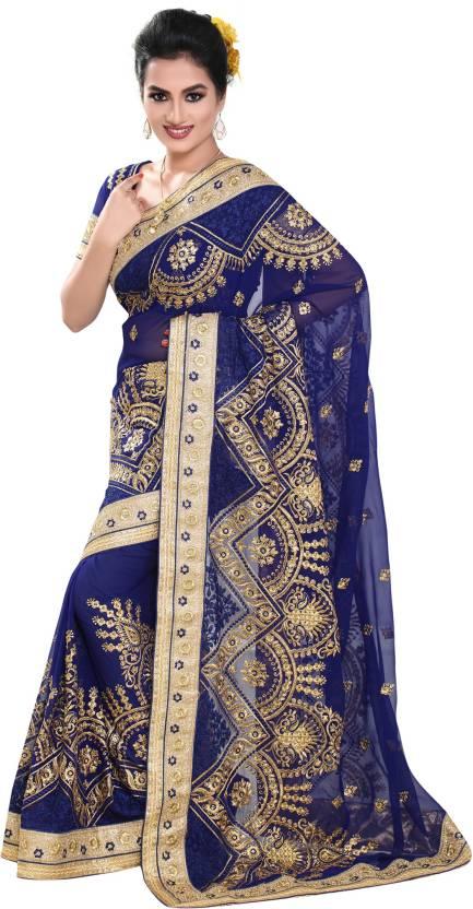 5feede5c3c9bda Buy Geet Fashion Solution Embroidered Fashion Georgette Blue Sarees ...