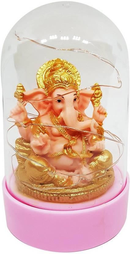 Prime Ganesha Idol For Car Dashboard With Led Decorative Showpiece