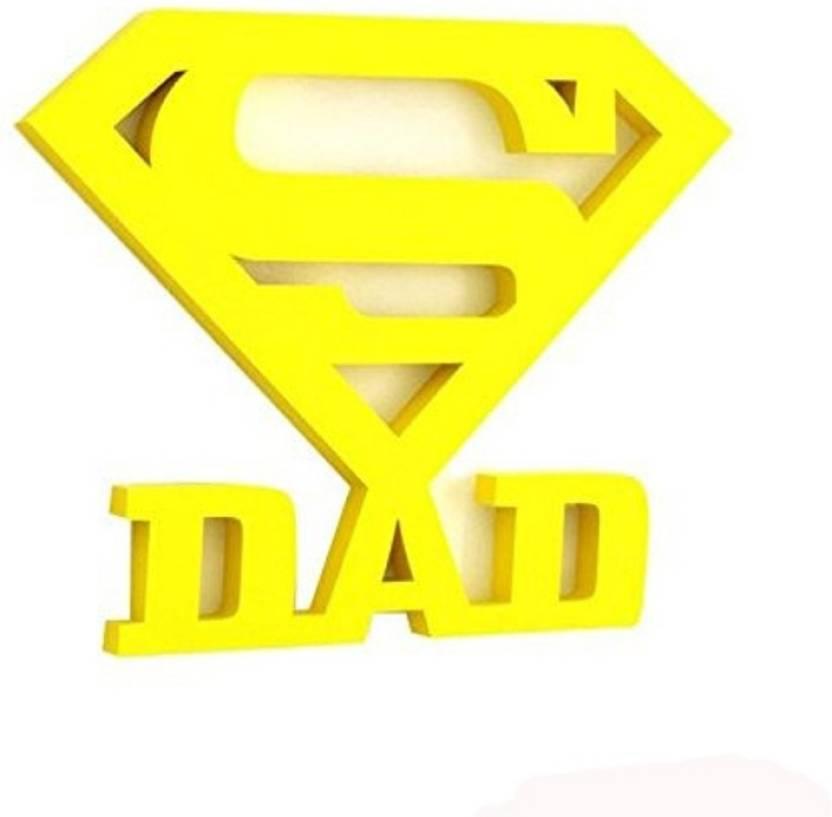 Onlineshoppee Super Dad Wooden Wall Sticker Decorative Showpiece