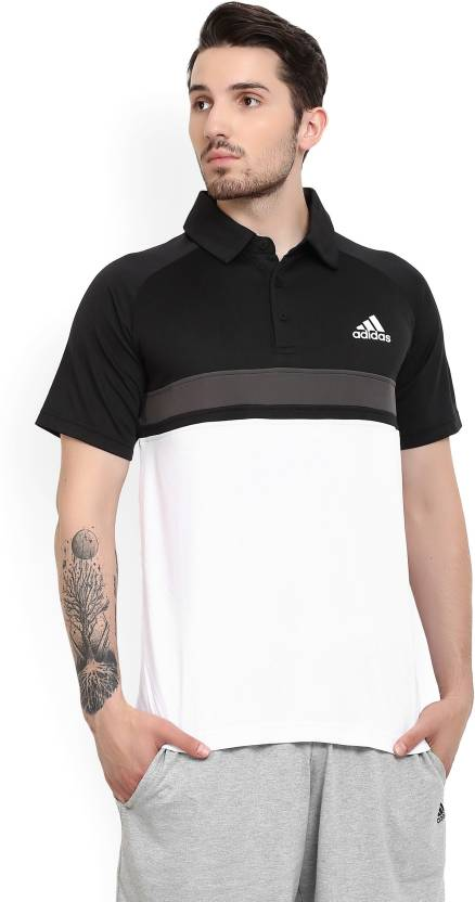 0bf9fb677 ADIDAS Color block Men Polo Neck Black, White T-Shirt - Buy Black ADIDAS  Color block Men Polo Neck Black, White T-Shirt Online at Best Prices in  India ...
