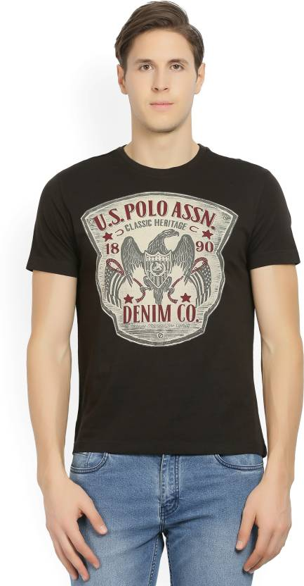 1b2e2842 U.S. Polo Assn Printed Men's Round Neck Black T-Shirt - Buy RAVEN U.S. Polo  Assn Printed Men's Round Neck Black T-Shirt Online at Best Prices in India  ...
