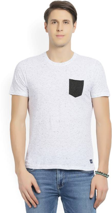 424bea14a4e Flying Machine Self Design Men s Round Neck White T-Shirt - Buy White  Flying Machine Self Design Men s Round Neck White T-Shirt Online at Best  Prices in ...