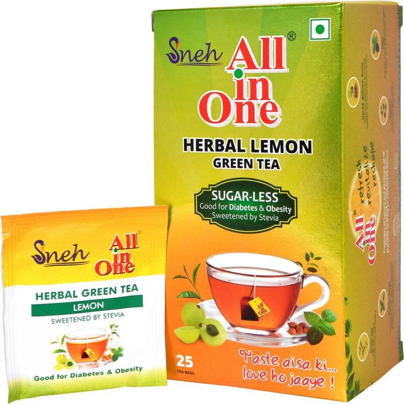 All In One Herbal Lemon Green Tea Sugar Less 25 Bags