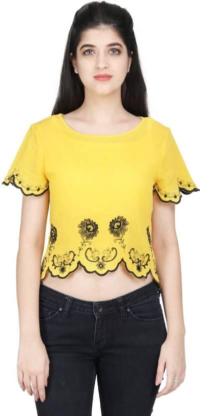 f7a0d9d3db46f1 MissGudi Beach Wear Short Sleeve Embroidered Women s Yellow Top - Buy  MissGudi Beach Wear Short Sleeve Embroidered Women s Yellow Top Online at  Best Prices ...