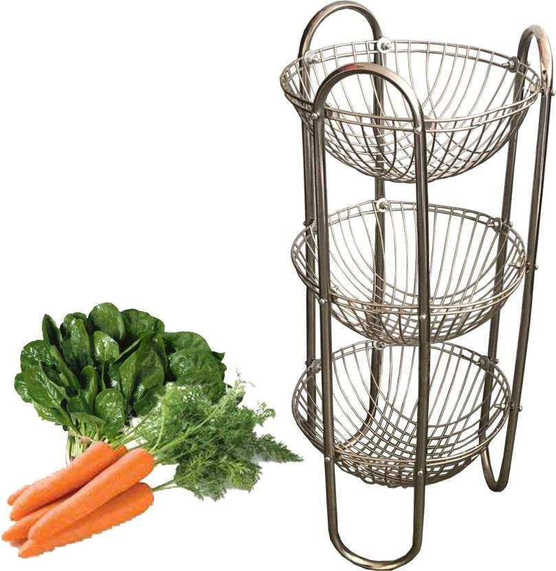 Kuber Industries Stainless Steel Three Tier Fruits Vegetables Round Trolley Multipurpose Kitchen Storage Shelf