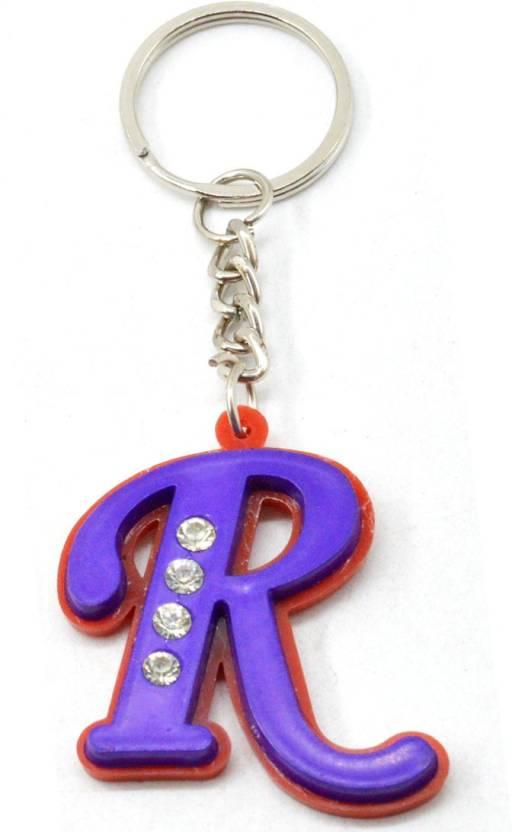 Faynci Alphabet R With attaractive diamonds Key Chain (Available