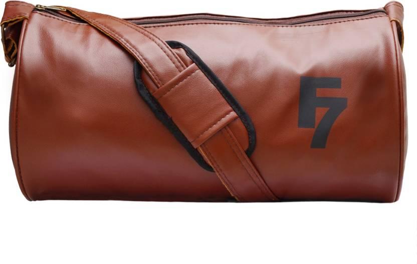 Fashion 7 Faux Leather Tan Duffel Gym Bag Brown - Price in India ... d2dfa63457619