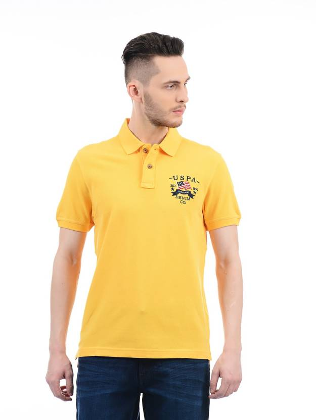 99c74bd9fdd U.S. Polo Assn Solid Men Polo Neck Yellow T-Shirt - Buy U.S. Polo Assn  Solid Men Polo Neck Yellow T-Shirt Online at Best Prices in India