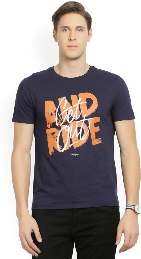 aff92df0 Wrangler Printed Men's Round Neck Dark Blue T-Shirt - Buy JSW-NAVY Wrangler  Printed Men's Round Neck Dark Blue T-Shirt Online at Best Prices in India  ...