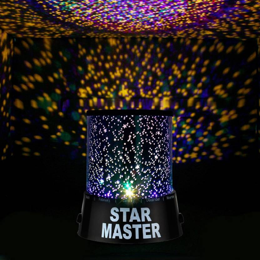 usb wire turn any room into a starry sky colorful romantic led cosmos  star master sky starry night projector bed light lamp  night lamp (12 cm,  black)
