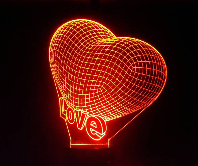 thelazerstudio 3D Illusion - 3d Love Heart - Red Table Lamp